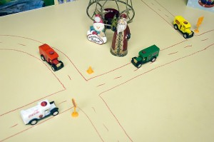 My office Christmas village. If I say that any of its roads are closed, they're closed.