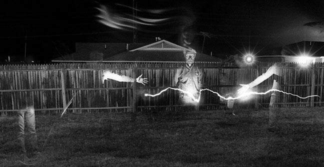 Multiple exposure attempt later that night in the back yard. I'm sure at the time I thought I was on to something groundbreaking.