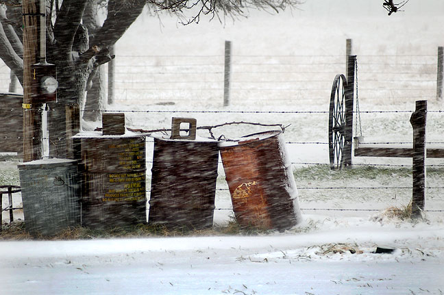 Blowing Snow in Ryan, Oklahoma this Morning