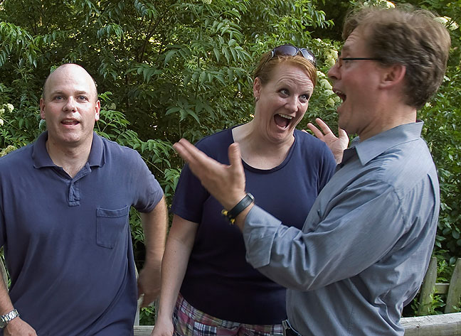 Geoff and Steph Gibson and Robert Stinson joke around at Saturday's excellent funeral party