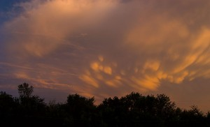 This thunderstorm to our south was windswept and starting to form mammatus clouds under its anvil.