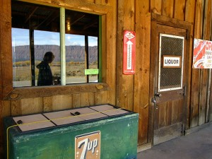 This image of the store at Bedrock, Colorado made in October 2009, shows its rustic character and, if you look closely, Abby's reflection in one of the windows.