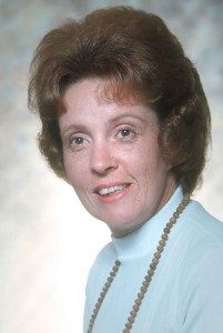 This is a formal portrait of Sarah Jo Barron in 1975, showing how her hair was intended to look.