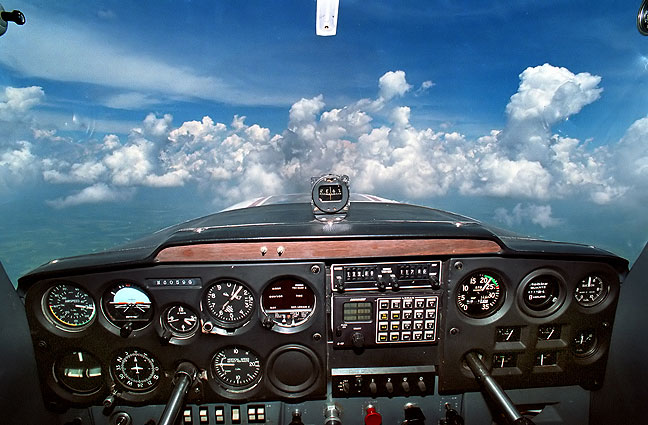 This is the panel of the Cessna 150 in which I had my primary flight training.