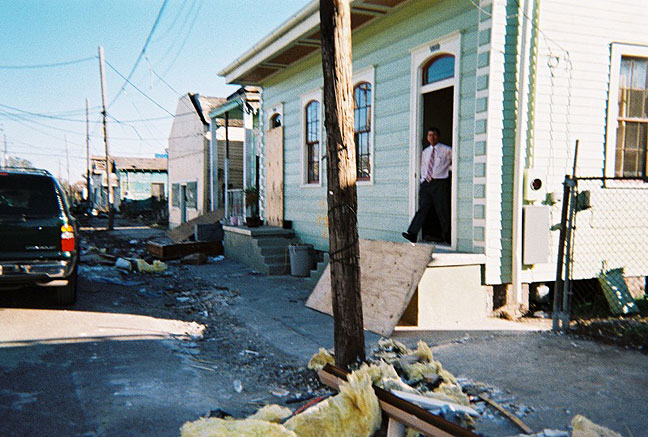 This is how Nicole's house appeared after the devastation by Hurricane Katrina.