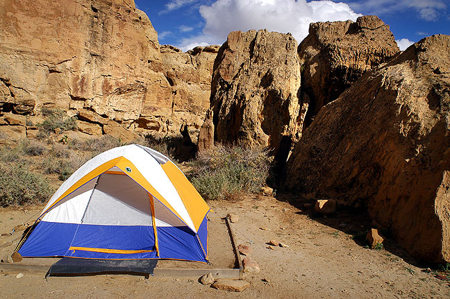 Probably my favorite place to camp is Gallo Campground at Chaco Canyon, like on this occasion in 2003. One reason is that I like to visit Chaco in November (since I like to camp when it's cold,) and I end up with nearly the whole campground to myself.