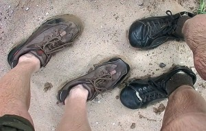 These are our shoes after crossing a flash flood swollen Terlingua Creek in April 2007. We both had at least one other pair of dry shoes waiting for us in the car.