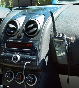 With the handheld radio (in this case my Kenwood TH-22AT) hanging on the dash, it's easier to hear and operate, and its antenna is in the open for better reception. I'm sure such a mount point could be used for any number of devices.