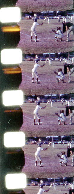 One of Dad's biggest disappointments when I was young was that I wasn't much of an athlete. This is a strip of film of me batting in Pee Wee baseball in about 1974.
