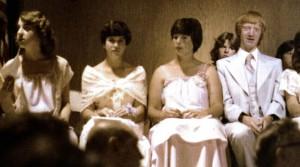 Jessica Beatty, Twila Barton, Dina Bartnicki, and I wait to graduate from Eisenhower Junior High in Lawton, Oklahoma, May 1978.