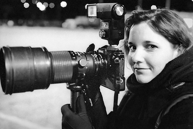 Ann uses my 200mm lens at an Ada vs Shawnee football game in 2002.