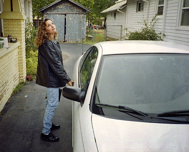 Ann prepares to get in my car at her house in Shawnee in about 2002.