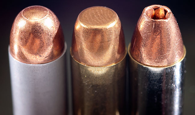 Three .380 ACP rounds in their most common configurations: ball, wad-cutter, and hollow point.