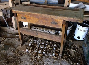 This is the bench we brought home; mounted on its left side is a very heavy vice.