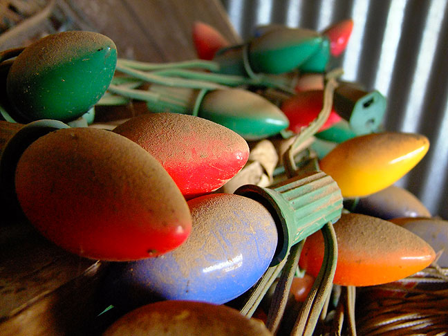 We found these old-style Christmas lights covered in a thick layer of dust in Abby's late father's unused work barn.