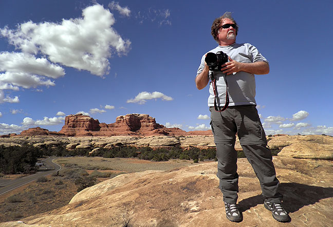 Photographer Jim Beckel makes images from a boulder above Squaw Flat Campground at Canyonlands National Park, Utah, last week. This was Jim's first trip to the wilds of the Colorado Plateau, but hopefully not his last.