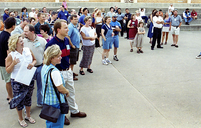 This is a previously unpublished overview I shot on the patio at Eisenhower High School during the Blue Ice Cream Social in July 2001. I swear, I couldn't give you the first names of more than five people in this image.