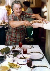 My grandmother Aileen Barron serves Thanksgiving dinner in the early 1980s. Many of the dishes served for those holiday meals came from her garden.