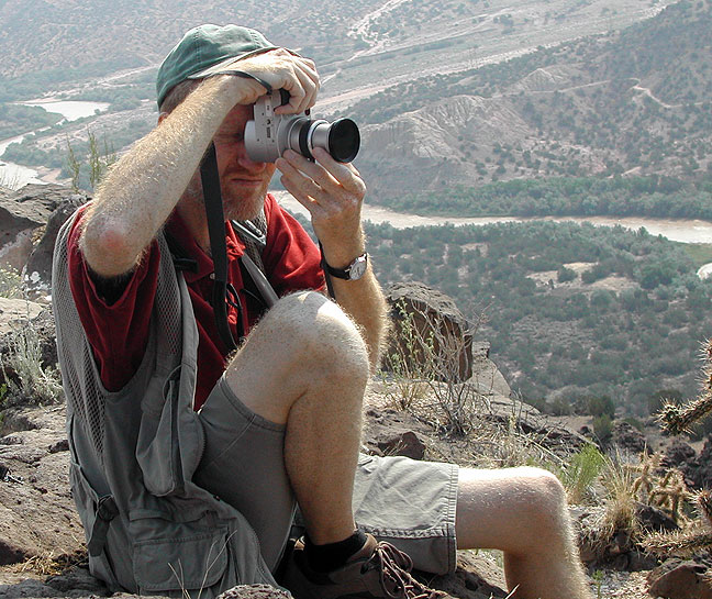 Abby made this image of me working the scene at White Rock Overlook in New Mexico on our way to Bandelier National Monument, New Mexico, July 2003.