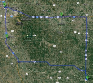 Our route covered about 170 miles and took about three hours.
