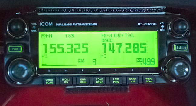 "The Icom IC-2820H with its panel color set to green. I'll probably change it fairly regularly, so it's sort of a ""mood radio."""