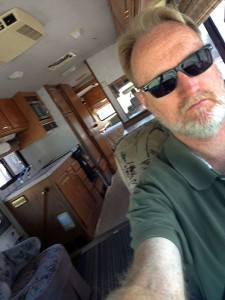This is a selfie of me driving our RV to Duncan yesterday.