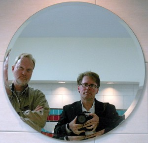 Robert and I pose in a mirror at the store at Clines Corners, New Mexico, April 2011.