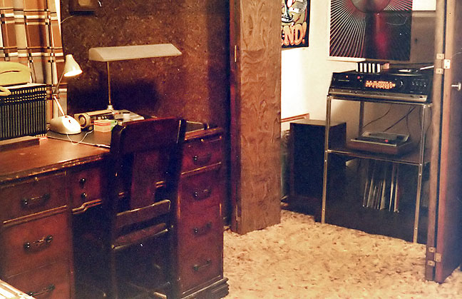 "This is a corner of my room in 1979. On the left is my desk where I composed embarrassing journal entries and emasculating letters to a girl who never really cared for me. On the right is my stereo, on which I played a partial recording I got from the radio of Jeff Wayne's ""Forever Autumn,"" which became something of a theme song for my year in 11th grade."