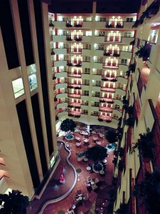 Our hotel was fairly new, and featured a large, ten-story indoor lobby.