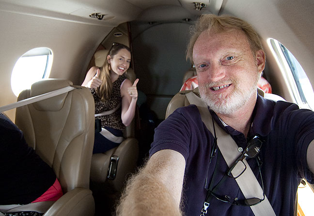 I made this selfie while taking the media flight in the Beechcraft Premier 1 business jet. Behind me is my friend and KTEN reporter Markie Martin, who, like me, is also a pilot.