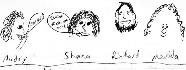 These are actual drawings of those involved, drawn by each other.