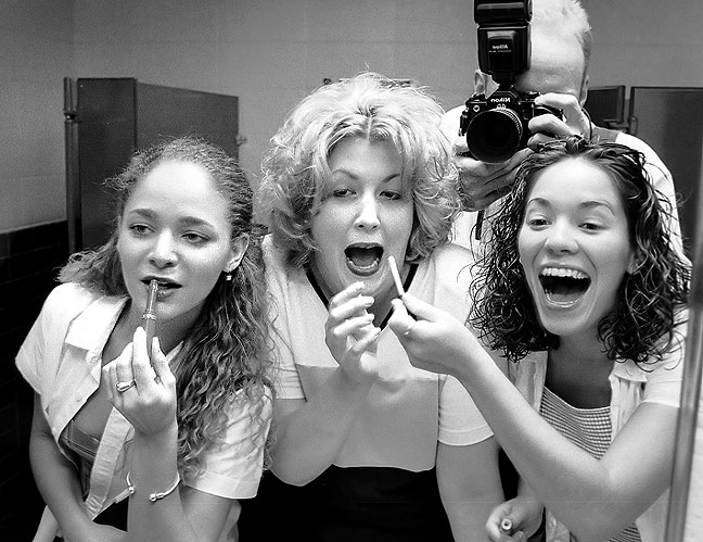 Photo I made in the women's room mirror that night; Merida, Shana, and Audry.