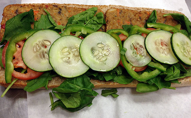Our downtown Subway store recently re-added veggie burger patties to the menu; with tons of spinach, green pepper, tomatoes, and cucumbers on whole wheat, this thing is a vegan's dream, and very nutritious.