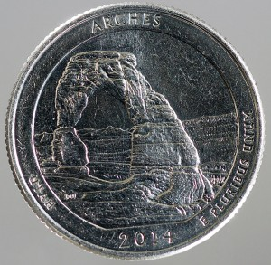 I was unaware until today that the Utah commemorative quarter featured the iconic Delicate Arch at Arches National Park, Utah, made famous as the place where Abby and I got married ten years ago.