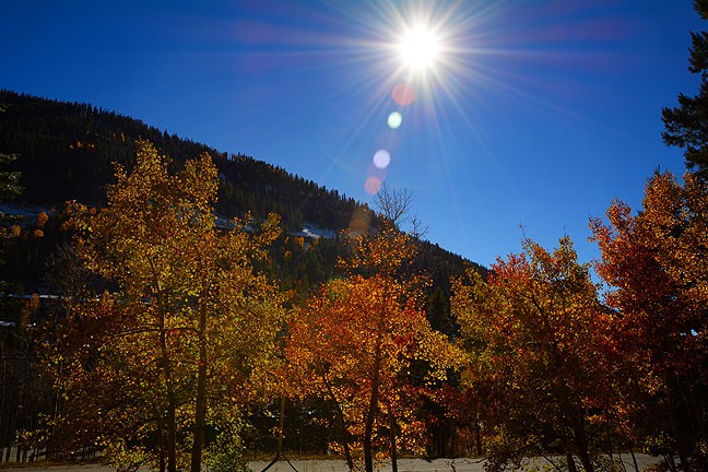 High country sun shines on the Taos, New Mexico Ski Valley, October 2014
