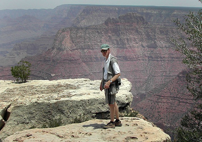 This is one of Abby's images of me near the edge of the Grand Canyon made about the time the dad tossed his daughter across the abyss.