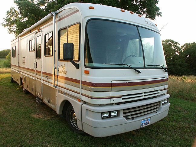 The ultimate vehicle for the apocalypse, our RV, whose name is Kokopelli.