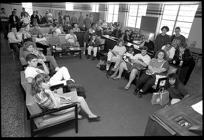 Students gather in the East Central University Student Union on the morning of October 3, 1995, to hear the verdict in the O. J. Simpson murder trial.
