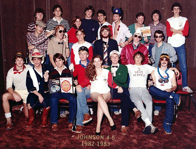 This was our obligatory Johnson Tower Floors 4 and 5 group photo from 1982-1983. We were a ragtag, fugitive force, fleeing student housing tyranny. Can you find me in this image?