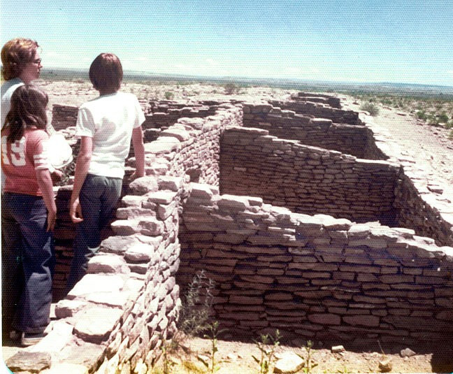 The Barrons visit ruins on their California vacation in 1975.