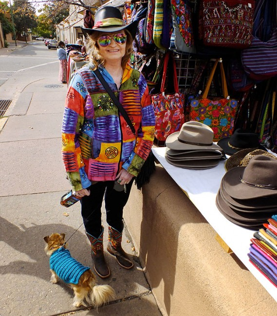 Abby smiles as she and I walk our dogs on The Plaza in Santa Fe, New Mexico, last October, on a perfect autumn Saturday.