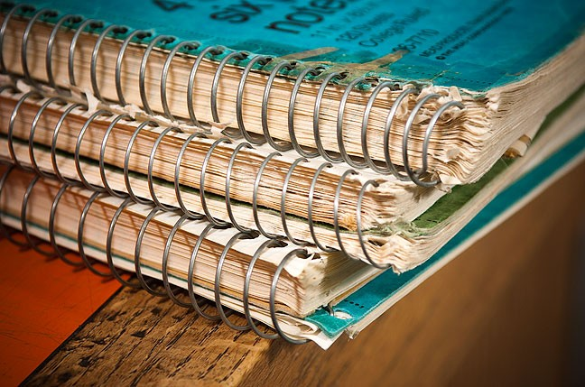 For me, these spiral-nound notebooks were my very heart and soul converted to words, but when I was young, the words were completely inadequate.
