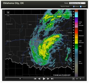 Mesonet radar shows a classic tropical storm shape of precipitation centered almost directly over us this morning.