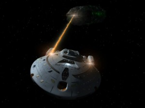 The USS Voyager fires phasers on a Borg probe. The special effects were at the top of 20th century television technology.