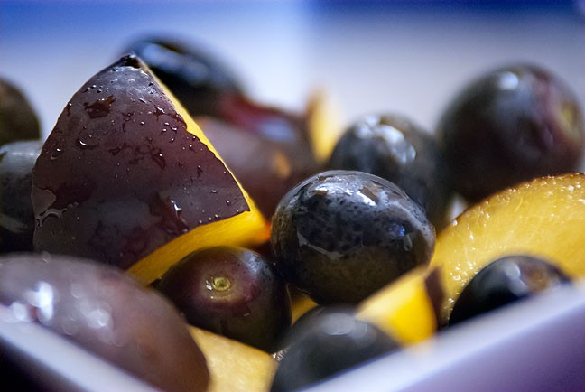 Though not actually the color black, both these plums and grapes are called black. Their flavor was amazing.
