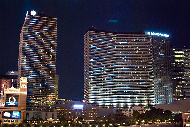This is the view of The Cosmopolitan Hotel in Las Vegas viewed from the Fountains at The Bellagio Hotel.