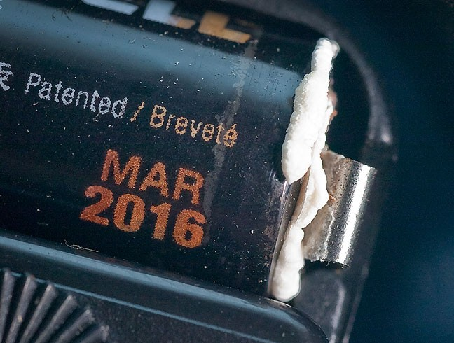 This is pretty plain evidence: a Duracell AA battery, with a March 2016 expiration date, in a wall clock stored at room temperature, has damaging corrosion on it.