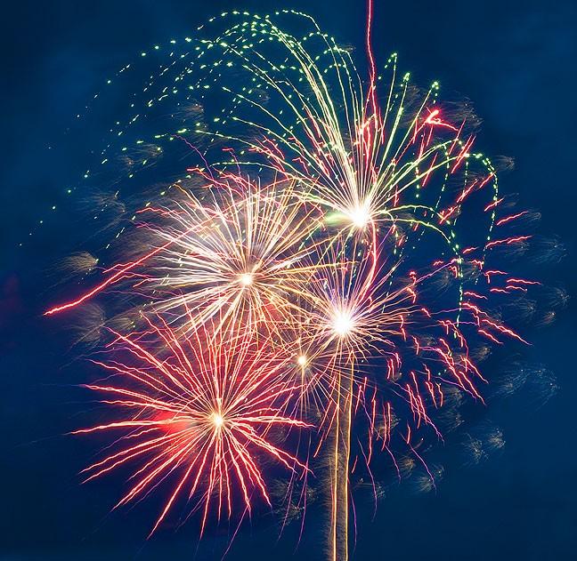 Fireworks burst over Ada's Wintersmith Park Saturday.
