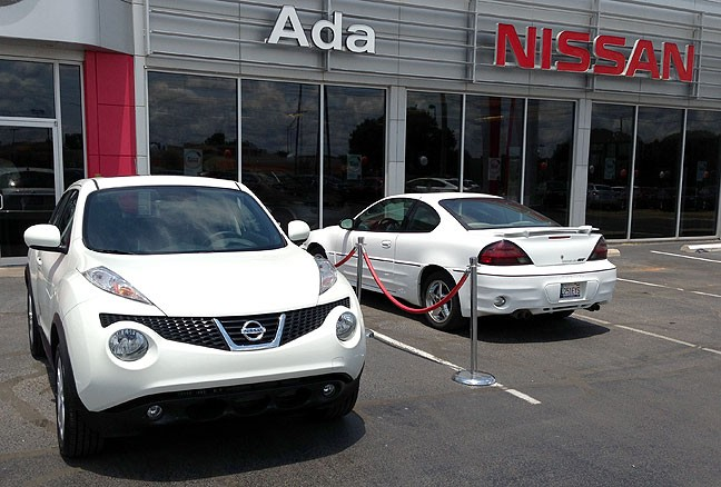 This is our Nissan Juke with Jean Claude Grand Am the day I got the Juke two years ago.