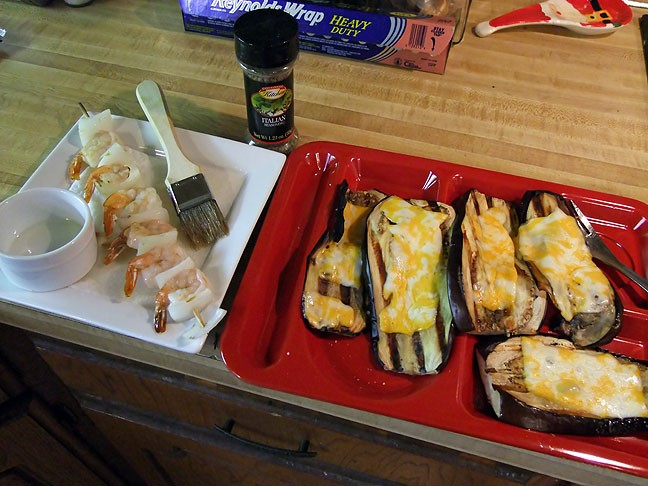 The last time I cooked out, Abby had grilled shrimp, and I had eggplant grilled with melted cheese.